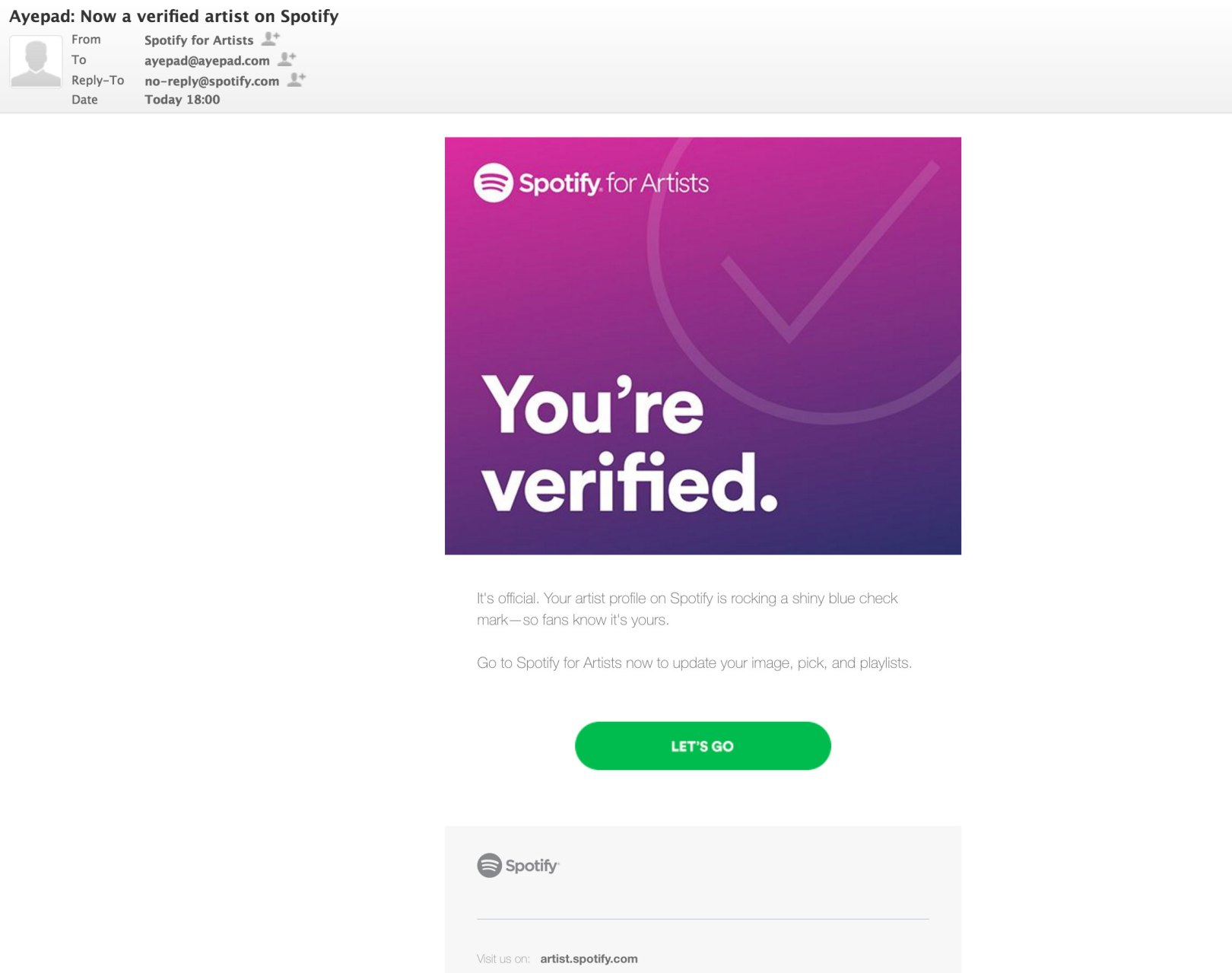 Email from Spotify